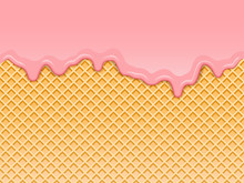 Pink Strawberry Ice-cream Melted On Waffle Background. Vector Illustration