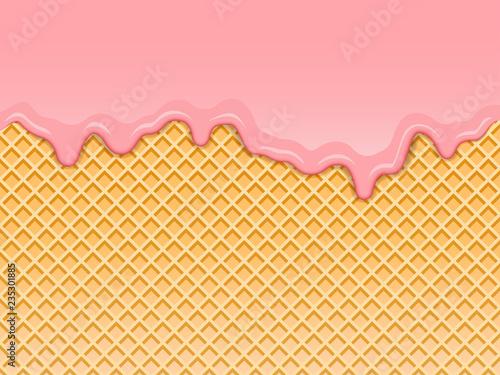 Obraz na plátně Pink strawberry ice-cream melted on waffle background