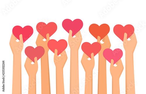 Fényképezés Vector illustration of hands holding hearts high up