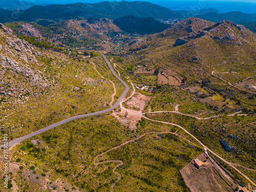 Aerial of Tramuntana in Mallorca, Spain