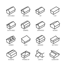 Roof Types Vector Icon Set In ...
