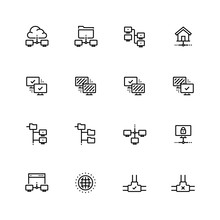 Computer Network Vector Icon Set In Thin Line Style