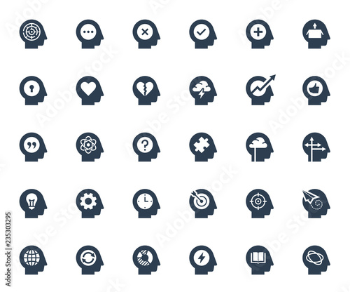 Photographie Psychology, brain activity and head related concepts glyph style icon set