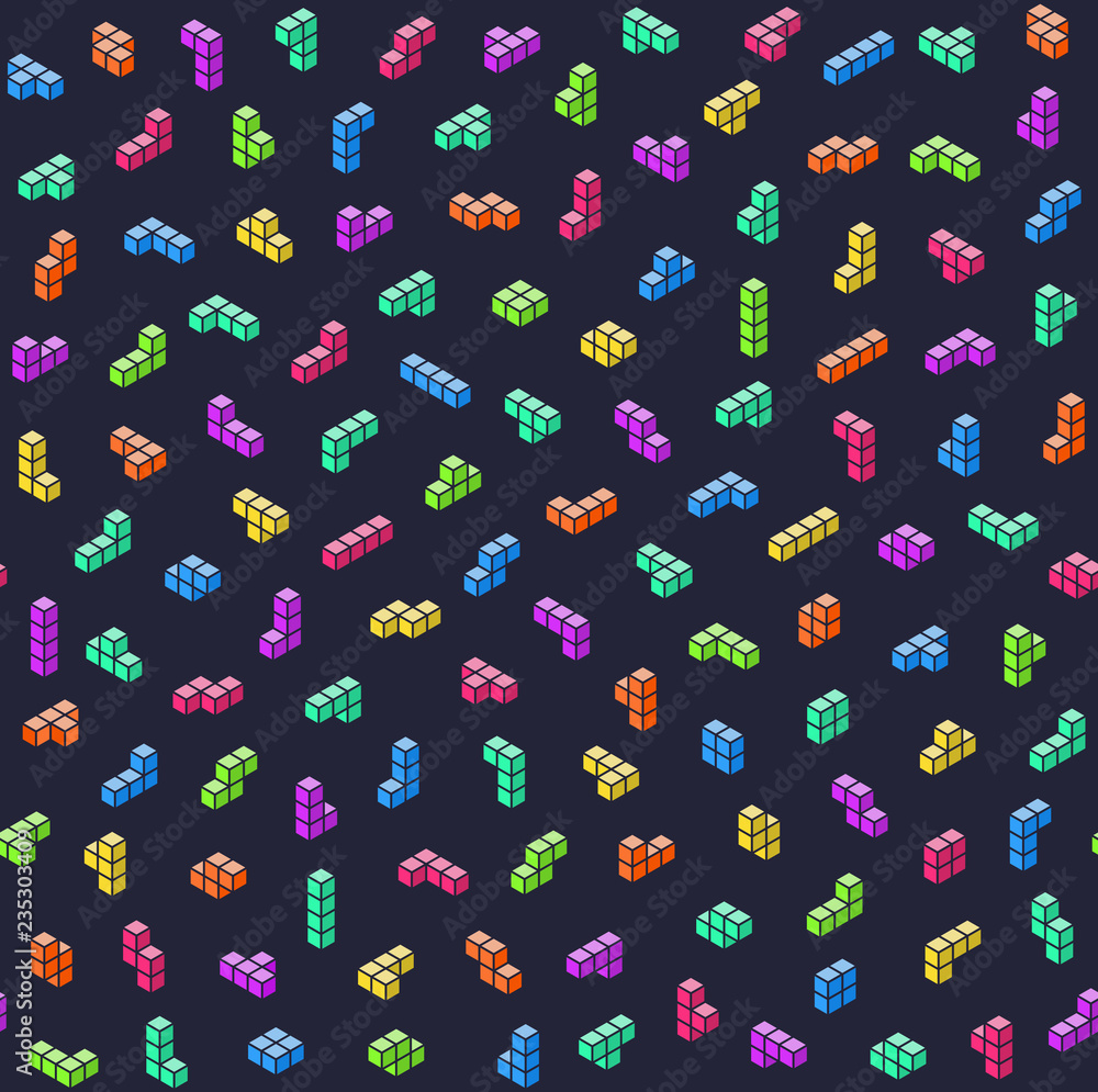 Game bricks colorful seamless pattern