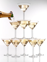 TOWER OF CHAMPAGNE GLASSES