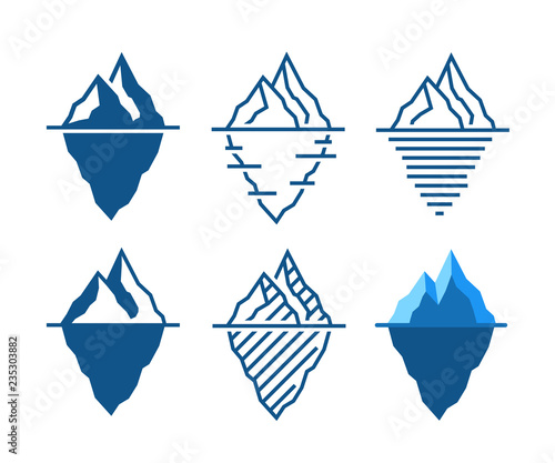 Iceberg vector icons in diffrent styles Canvas Print