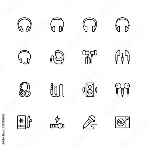 Headphones and audio equipment icon set in outline style Canvas Print