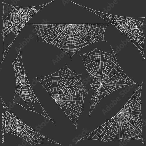 Vector set of spider webs Canvas-taulu