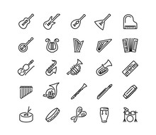 Musical Instruments Vector Icon Set In Outline Style
