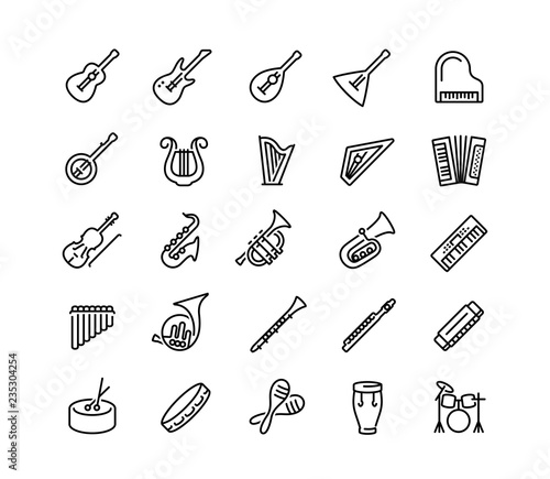 Musical instruments vector icon set in outline style Canvas Print