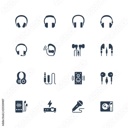Headphones and audio equipment icon set in glyph style Wallpaper Mural