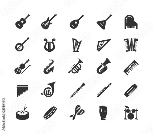 Leinwand Poster Musical instruments vector icon set in glyph style