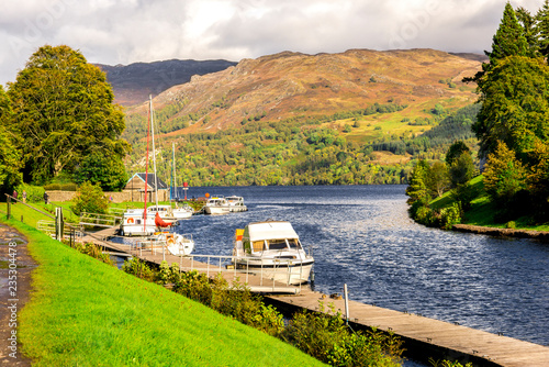 Fotografie, Obraz  Caledonian Canal entry to Loch Ness at Fort Augustus, Scotland