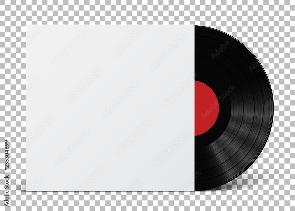 Fototapeta Gramophone vinyl LP record cover template isolated on checkered background. Vector illustration