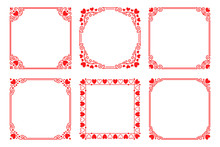 Vector Set Of Square Frames With Hearts, Flourishes
