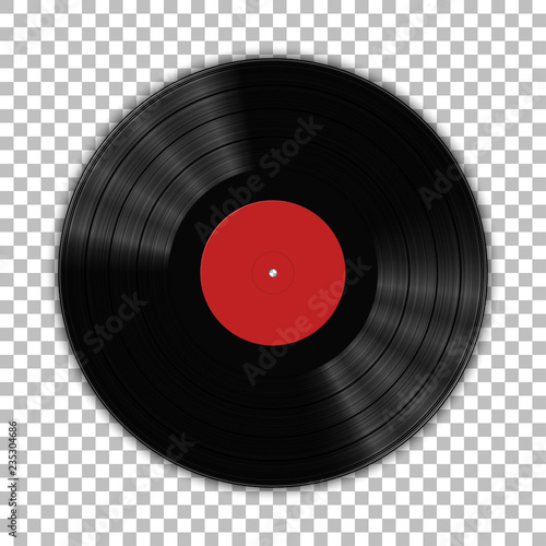 Fototapeta Gramophone vinyl LP record template isolated on checkered background. Vector illustration obraz