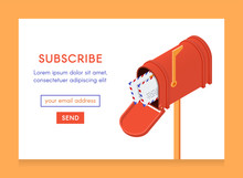 Online Newsletter Template. Email Subscribe Form, Submit Button And Open Isometric Mailbox With Envelopes. Illustration In Flat Style