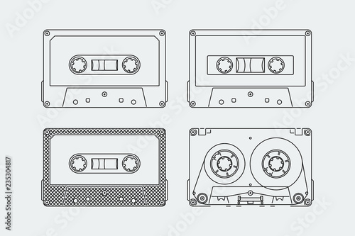 Photo Silhouettes of compact cassettes or tapes in outline style