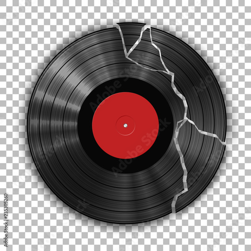 Foto Gramophone broken vinyl LP record template isolated on checkered background