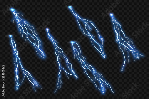 Isolated realistic lightning flash on checkered background Fototapeta