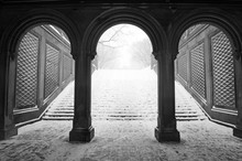Central Park In Manhattan New York During Middle Of Snowstorm With Snow Falling