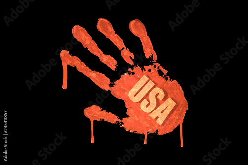 Bloody handprint with USA inscription - Buy this stock