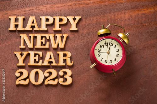 Fotografia  Happy New Year 2023 with clock
