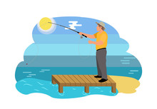 Fish Catching Man On Shore Vector Illustration