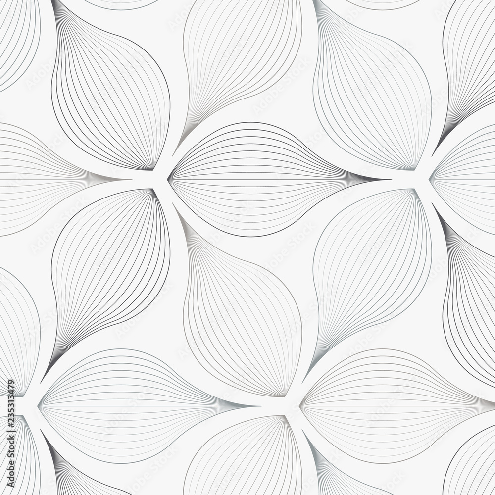 Fototapety, obrazy: linear vector pattern, repeating abstract flower leaves, gray line of leaf or flower, floral. graphic clean design for fabric, event, wallpaper etc. pattern is on swatches panel.