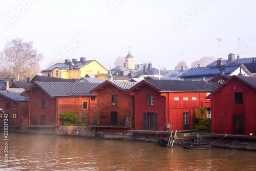 Foto op Aluminium Stad aan het water Porvoo city and Porvoonjoki river view, old wooden houses, Finland