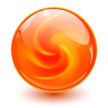 Orange Glass Sphere, 3D Marble Ball