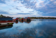 Evening Coastal View, Traditional Wooden Boathouses, Kumlinge, Aland Islands, Finland