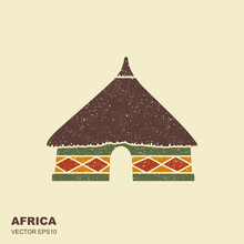 African Tribal Hut Icon Isolated With Scuffed Effect
