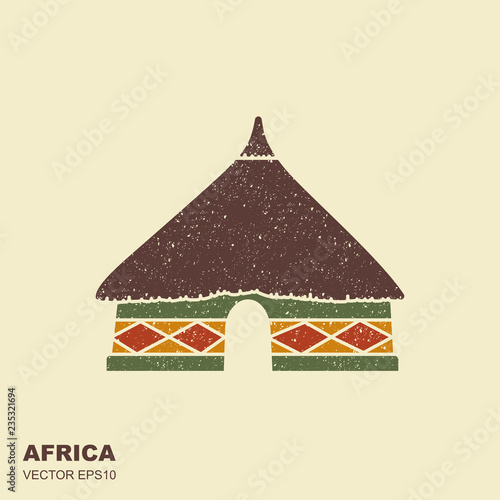 Fotografie, Tablou African tribal hut icon isolated with scuffed effect