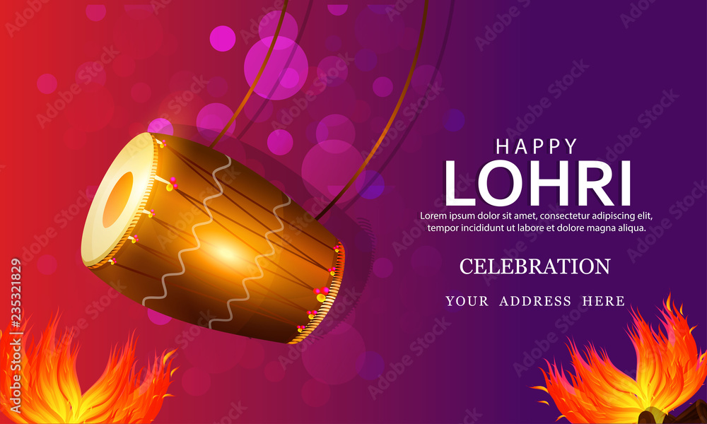 Fotografering Punjabi festival of lohri celebration bonfire background with decorated drum