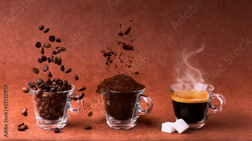 Photo  in glass cups, animated sequence with coffee beans, ground coffee, and steaming beverage