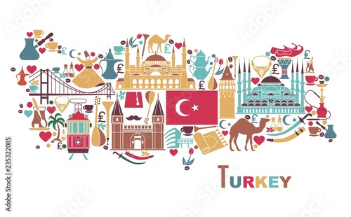 Canvas Print Traditional tourist symbols of Turkey in the form of map
