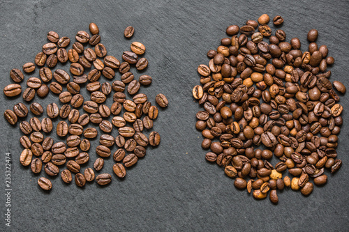 Photo coffee grain (good and bad grain) - Arabica and Robusta blend (roasted coffee grain)