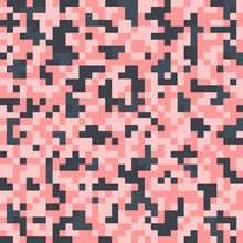 Pixel Seamless Pattern With Pink Squares. Vector Background.