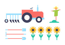 Scarecrow And Tractor Set Vector Illustration