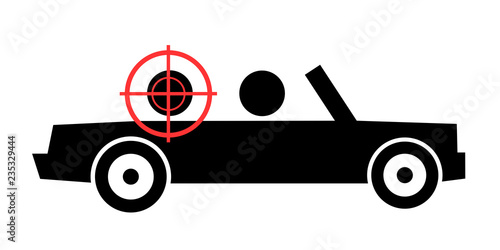 Photo  Person is killed and assassinated in the cabriolet and convertible car by shot from gun