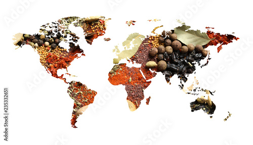 Fotografía  World map of different aromatic spices on white background