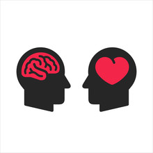Two Head Silhouette With Heart And Brain Symbols Inside, Logic And Feel Choice Concept, Flat Style Icons