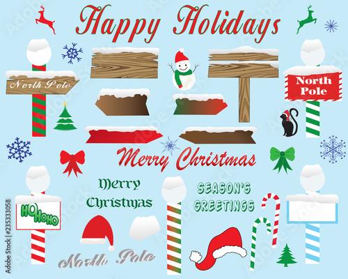 Obraz na plátně Christmas-North Pole and Snowy Signage