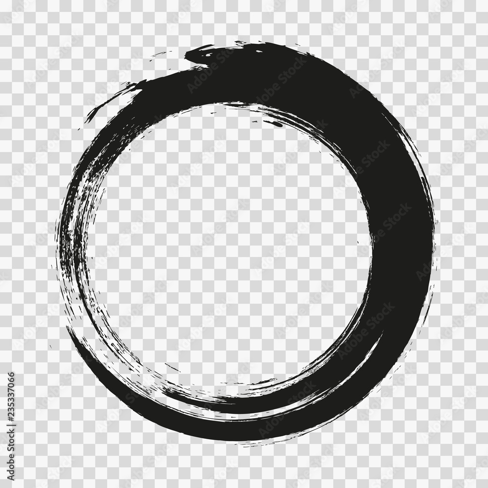 Fototapety, obrazy: vector brush strokes circles of paint on white background. Ink hand drawn paint brush circle. Logo, label design element vector illustration. Black abstract circle. Frame.