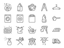 Laundry Icon Set. Included The...