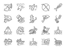 Marine Pollution Icon Set. Included The Icons As Ocean Trash, Environment, Junk, Plastic, Ocean Cleaning And More.
