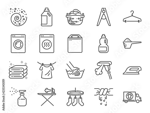 Laundry icon set Wallpaper Mural