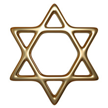 3D Illustration Of Gold Star Of David Isolated On White Background