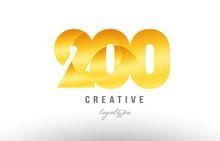 200 Gold Golden Metal Gradient Number Logo Icon Design